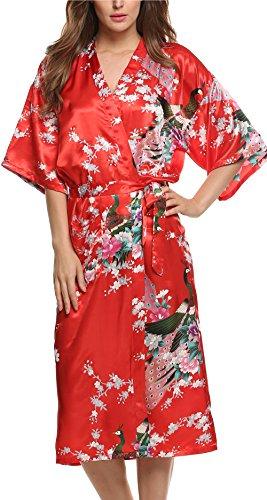 Avidlove Damen Morgenmantel Kimono Reizwäsche Dessous Nachtwäsche aus Satin