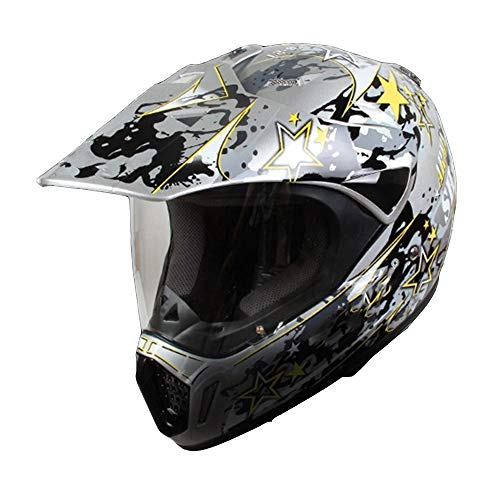 QRY Cascos De Motocross Cascos para Todo Terreno Casco De Invierno con Personalidad Completa para Hombre Casco De Rostro Completo Casco De Rostro Completo Cuatro Estaciones - Plateado/Amarillo - Gra