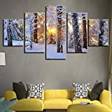 adgkitb canvas Imprime Marco Cinco Piezas Imagen de la Lona Pinturas de Pared Decortree Paisaje Decoración del Hogar para la Sala de Estar Dormitorio