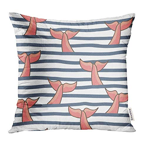 WBinHua Zierkissenbezüge, Throw Pillow Covers, Watercolor Mermaid Nautical Fish Tails Blue Whale Drawing Abstract Animal Beauty Fin Print Pillowcases 18
