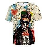 Lil Wayne T-Shirt à Manches Courtes avec imprimé Mode 3D, Chemise Fonctionnelle étroite 100% Polyester XL XXL