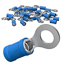 AUPROTEC 50x Ringkabelschuhe 1,5 - 2,5 mm² blau Loch-Ø M12 Teillisoliert PVC RV Kabel-Verbinder aus Kupfer verzinnt