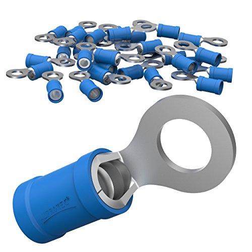 AUPROTEC 25x Ringkabelschuhe 1,5 - 2,5 mm² blau Loch-Ø M8 Teillisoliert PVC RV Kabel-Verbinder aus Kupfer verzinnt