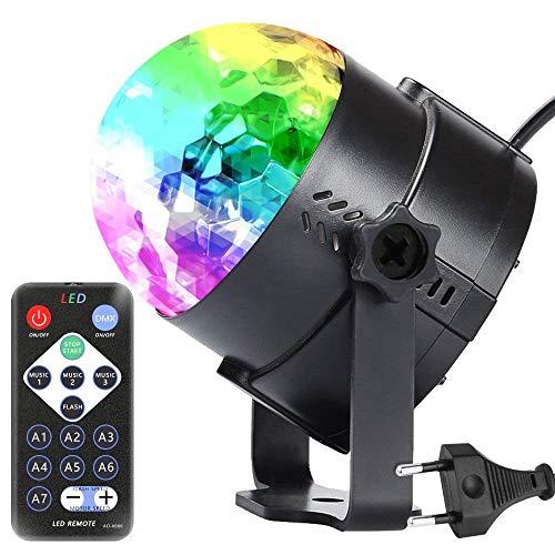 Discokugel LED Party Lampe,Thinkcase Lichteffekte Discolicht, 7 Farbe RGB 360° Drehbares Partylicht mit Fernbedienung für Kinder Dj Bühne Karaoke Beleuchtung Deko