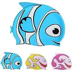 Gorro de natación para niños de Ejia Tech, de silicona y con dibujos de peces., Infantil, azul