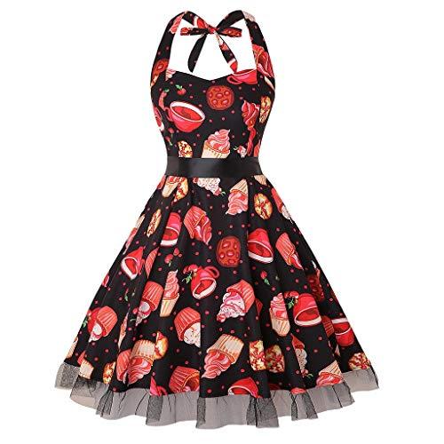 WUDUBE Robe de Cocktail,Version3.0 Vintage 1950's Audrey Hepburn pin-up Robe de soirée, Style Halter années 50 à Pois