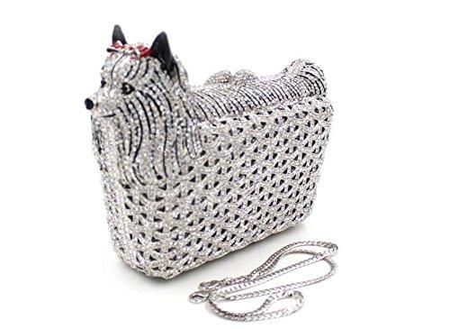 WYB Europa Puppy Diamant Abendtasche / hochwertigen Diamant Kupplung / Abendbeutel / Brautjungfer Tasche Silver