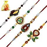 Mahi Combo of 4 Rakhi (Bracelet) with Rudraks, Crystal and Artificial Pearl