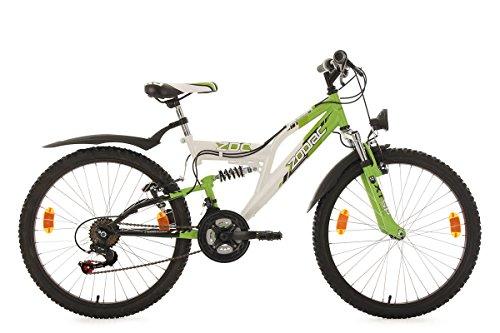 KS Cycling Kinder Fahrrad Mountainbike Fully Zodiac RH 38 cm weiß-Grün, 24