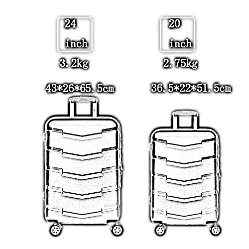 ABS + PC Zeichnung Passwort Universal - Runde Gepäck Tasche Aluminium Alu Trolley Taschen ( Farbe : 3 , größe : 24 inch ) 2