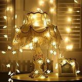 Elinkume® wasserdicht 2 m 20 LED Silber Draht Lichter, Fairy Sternenhimmel Zeichenfolge Lichter, warmweiß, Seil-Leuchten für Weihnachten, Party, Hochzeit, Garten