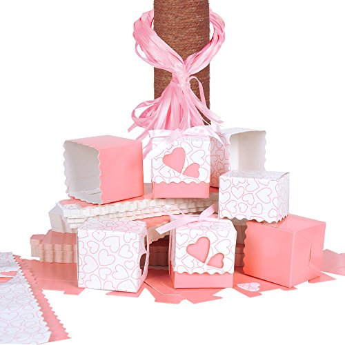 QUMAO 100 Stk. Bonboniere 5x5x5 cm (mit 100 Stk. SeidenBänder) Taufe Kartonage Geschenkboxen Hochzeit Pralinenschachtel Geschenkverpackung Süße Gastgeschenk Süßigkeiten Weihnachten (Pink)