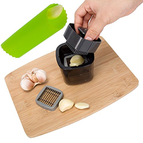 Cortador de ajos, rallador de queso y rallador de ajos, con pelador y recipiente para restaurante, hotel, cocina, etc.