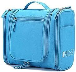Diswa Multipurpose Foldable Wall Hanging Dressing Kit Makeup Organiser Multi Utility Kit Travelling Kit Bag and Toiletry Bag Kit (Sky Blue)