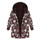 OIKAY Plus Größe Damen Mit Kapuze Langarm Baumwolle Leinen Flauschigen Pelz Reißverschluss Outwear Mäntel(S4-Beige,EU-36/M)