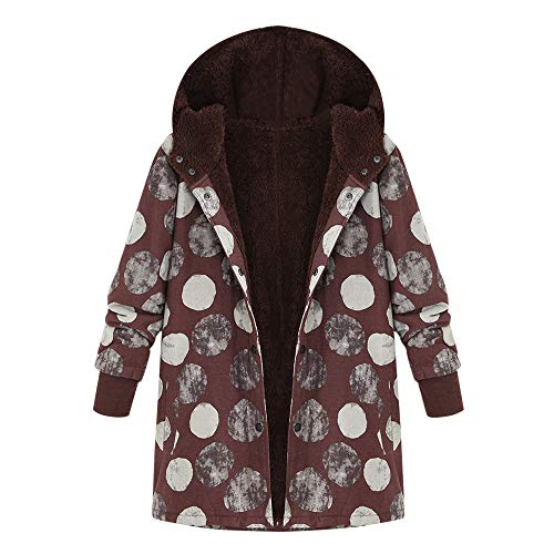 Femme Manteau À Capuche Longues Jacket Coton Lin Chaud Hiver Blouson Elegant Veste, QinMM Poilue Fourrure Parka Rembourré Chic Tops Trench-Coat Rétro Épaissir Plus Velours Impression Point