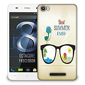 Snoogg summer vector illustration with glasses bird rays ball water palm tree sun Designer Protective Back Case Cover For LAVA IRIS X8