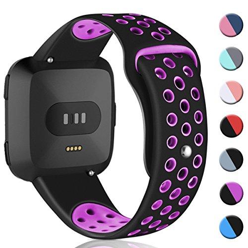 HUMENN Kompatibel Für Fitbit Versa Armband, Weich Silikon Ersatzarmband Smartwatch Sport Band für/Special Edition Smartwatch, Klein Silikon-Schwarz/Pflaume