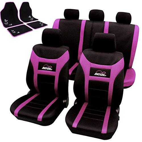 Woltu universal asiento de coche + soporte Fundas de asiento Juego de alfombrillas para colchón schonbezüge con 4piezas Felpudo Alfombra felpudos as7259rs + am7141