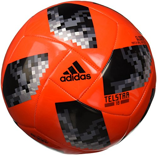adidas Herren Bola Glider FIFA World Cup Ball, Solar Red/Black/Silver Metallic, 5