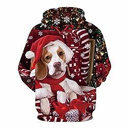 QJH Christmas Santa Claus Cat Dog Print Sweatshirt Unisex Realistic 3D Digital Hoodie