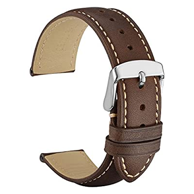 WOCCI Vintage Leather Watch Strap with Metal Buckle, Replacement Watch Band (18mm 19mm 20mm 21mm or 22mm) - inexpensive UK light store.