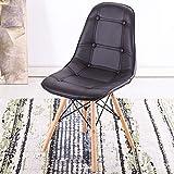 AIQI Europäischer moderner Esszimmer-Lederstuhl mit Eiffel-Retro Schutz-Fußboden-hölzernem Bein Esszimmer Büro-Schlafzimmer-Küchentisch-Leder-Eiffel-Stuhl (Farbe : Schwarz)