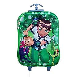 Di Grazia Ben Ten ( Ben 10) 3D Hardshell Travel Trolley Luggage Suitcase Bag, 6 Wheels School Bag For Kids