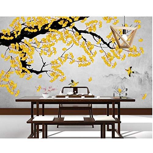 Sorgfältige Blume und Vogel Ginkgo handbemalte Tinte 3d Wallpaper für Wohnzimmer Sofa TV Wand Schlafzimmer Tapeten Wohnkultur 300x200cm