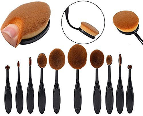 hosaire-soft-10pcs-toothbrush-shaped-foundation-power-makeup-oval-cream-puff-brushes-set