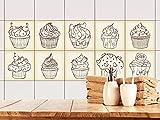 GRAZDesign 770492_15x15_FS10st Fliesenaufkleber Cupcakes für Küche als Set | Wand-Fliesen Aufkleber | selbstklebende Folie - einfache Verklebung | wieder ablösbar - für rechteckige Fliesen (15x15cm // Set 10 Stück)