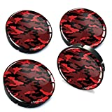 4 x 60mm Silikon Nabenkappen Kappen Camouflage Rot Felgendeckel Radkappen Radnabendeckel Nabendeckel Auto Tuning A 105