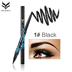 9th Avenue black: HUAMIANLI Double Head Automatic Waterproof Eyebrow Pen Pencil Long Lasting Eyebrow Eyeliner Pen Pencil Cosmetic Makeup Tool