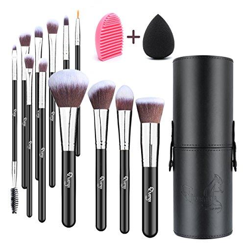 Qivange 12pcs Pinceles de maquillaje con soporte,...