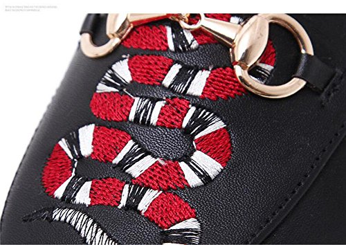 SHINIK Femmes Pompes à pieds fermés Chaussures à chaussures à talon bas à manches longues à manches longues Sandales noires Black