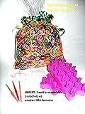 Super 500g Nachfülltoner Gummibändern Wonder Loom, ca.: 6600PCS. Für die Konfektion Ihrer Armbänder oder anderen. Inkl. ein Webrahmen Modular, 3Haken und 200Verschlüsse in S