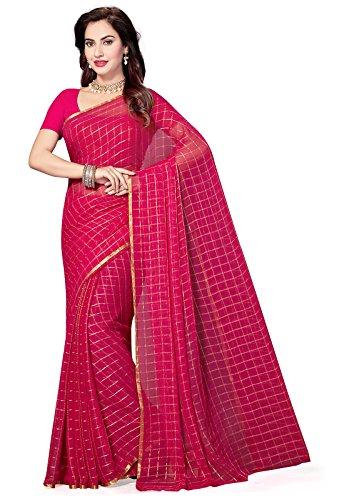 ishin Women's Chiffon Saree With Blouse Piece (Swaya-Chokdapink, Pink, Free Size)