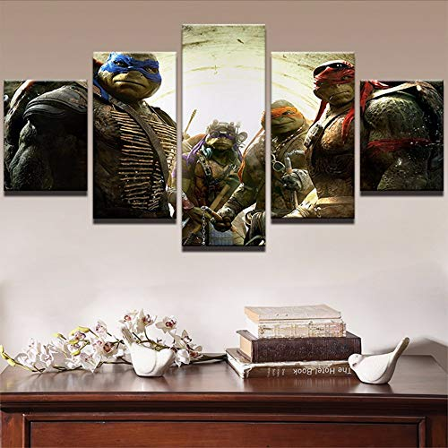 Cczxfcc Leinwand Abstrakte Bilder Hd Druck Wandkunst Gemälde Wohnkultur Gerahmt 5 Panel Teenage Mutant Ninja Turtles Filmplakat-10X15/20/25Cm-Frame - Hintergrund Ninja Turtle