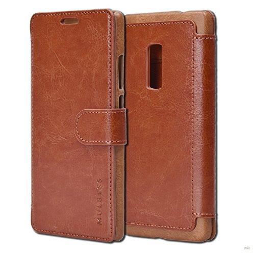 Mulbess Layered Dandy Ledertasche im Bookstyle und Kartenfach für OnePlus Two hülle Tasche Leder,Vintage Braun