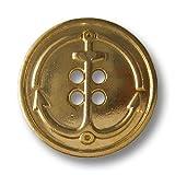 Knopfparadies - 10er Set schlichte glänzend goldfarbene Vierloch Metallknöpfe mit großem Anker / B-WARE / Glänzend Goldfarben / Metall Knöpfe / Ø ca. 18mm