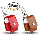 #5: AirPods Accessories AirPods Case Joy Lives Premium PU Leather Magnet closure Flip Cover With Metal Closure Buckle for Apple AirPods Charging Case (Red-Brown(2 Pack))