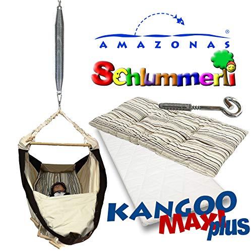 Federwiege Amazonas Kangoo MAXI plus Babyhängematte + Matratze + Inlay Sunny Cacao + Schlummerli-Feder + Deckenhaken