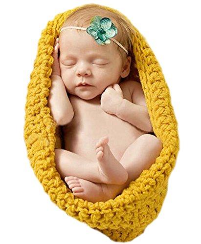 DELEY Neugeborenes Baby Feste Häkeln Stricken Schlafsack Baby Fotografie Requisiten Kostüm-Outfits 0-3 Monate Gelb