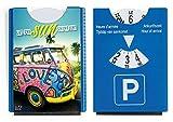 Fun Spaß Motiv Parkscheibe mit Eiskratzer und Gummilippe VW Bus Bulli 'Let the sun shine in'