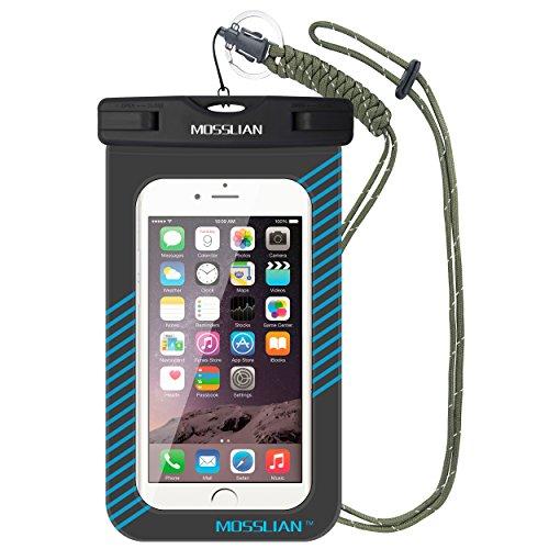 Funda Impermeable Móvil MOSSLIAN Bolsa Universal para iPhone 7/6/6s Plus/5/5s Certificado IPX8 Resistente al Polvo, Lluvia, Nieve y Aceite, Ideal para Esquiar, Nadar, Pescar, Lavar y Cocinar (Azul)