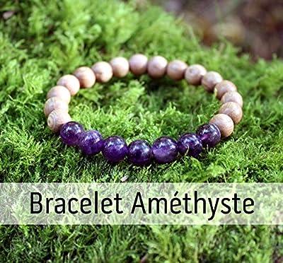 Bracelet Améthyste et perle de bois pour femme, pierre naturelle, lithothérapie, améthyste véritable, cadeau anniversaire Noël mariage, idée cadeau