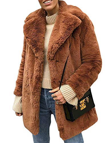 Terryfy Damen Pelz Mantel Elegant Lang Warm Fellmantel Winter Fur Coat Jacke Braun