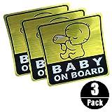 BABY ON BOARD Adesivo per auto riflettente, Silence Shopping Adesivi di sicurezza per auto Adesivi per bambini (3 pezzi)