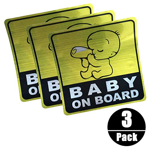 Autocollant Réfléchissant de voiture de BABY ON BOARD, Autocollants de Signe de Sécurité de voiture Autocollant Graphique de Véhicule de bébé (3pièces)