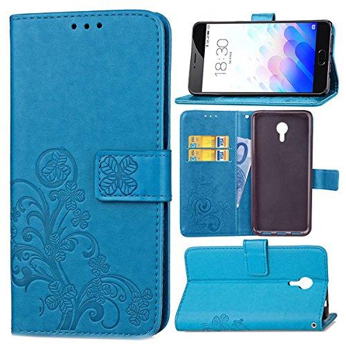 Étui Pour Meizu M3 Note , pinlu® Haute Qualité ultra-mince Etui Avec slot Pochette Portable Flip Wallet Housse Similicuir Portefeuille Trèfle Chanceux Bleu